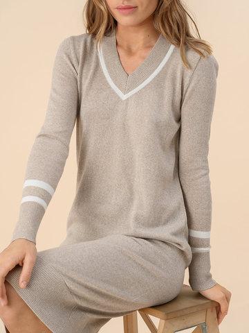 Женское платье бежевого цвета из шерсти - фото 4