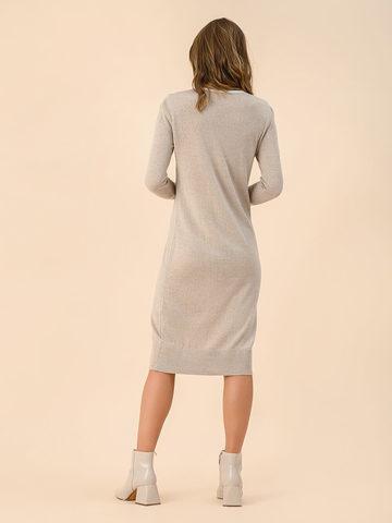 Женское платье бежевого цвета из шерсти - фото 2