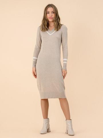 Женское платье бежевого цвета из шерсти - фото 3