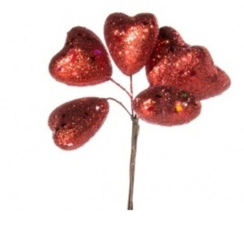 Набор сердец с глиттером на вставках 6шт., размер: D4x4xL14см, цвет: красный