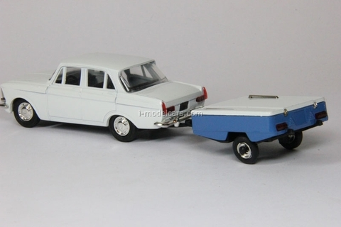 Moskvich-412 with trailer Skif white Agat Mossar Tantal 1:43