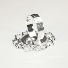 Основа для кольца с сеттингом для кабошона 18х15 мм (цвет - серебро)