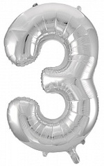К (34''/86 см) Цифра, 3, Серебро, 1 шт.