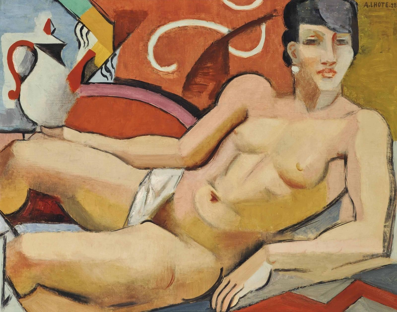 Андре Лот. 1928. Обнаженная с чайником (Nude with kettle). 73.2 x 92. Холст, масло. Частное собрание.