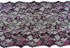 Эластичное кружево, ОПТ, чёрное и розовый, 23см, м