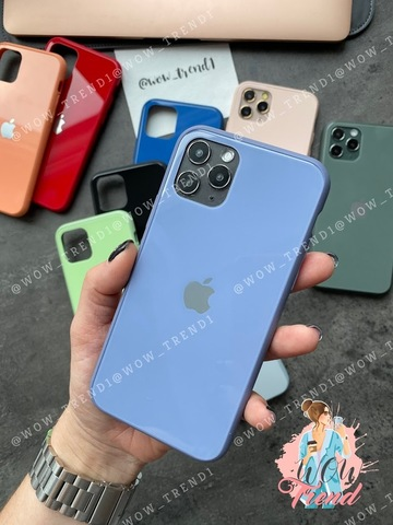 Чехол iPhone 11 Pro Max Glass Pastel color Logo /lavender gray/