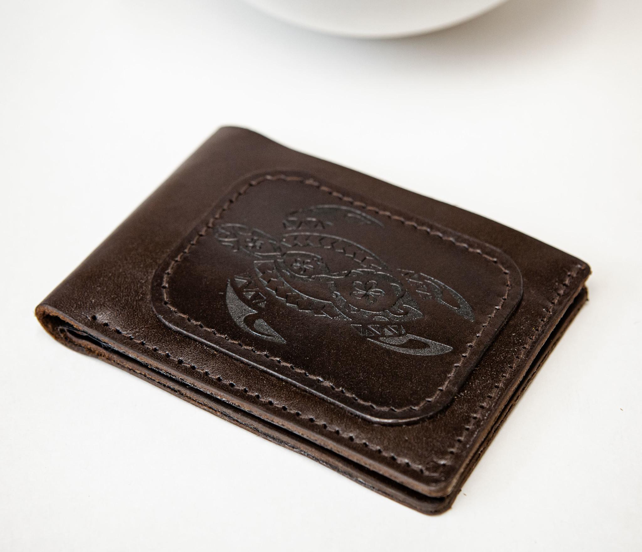 WB159 Мужской кошелек с черепахой в полинезийском стиле, «Boroda Design» фото 02
