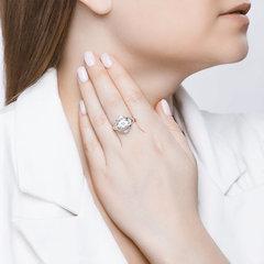 92011817 - Кольцо из серебра с горным хрусталем и фианитами