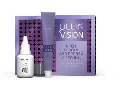 Набор для окрашивания бровей и ресниц black (черный).Ollin Vision Color Cream For Eyebrows and Eyelashes