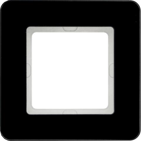Рамка на 1 пост стекло. Цвет Чёрный. Berker (Беркер). Q.7. 10116076