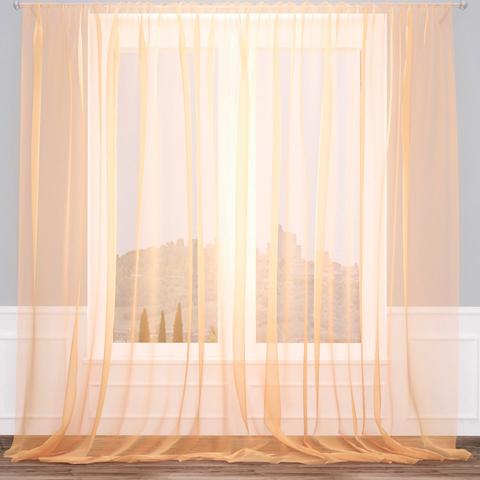 Тюль вуаль на шторной ленте. Персиковый. оптом. Арт. Kv209