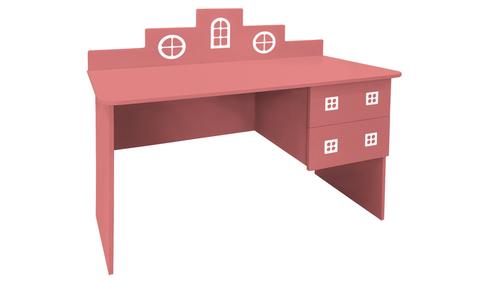 детский письменный стол в виде домика розовый