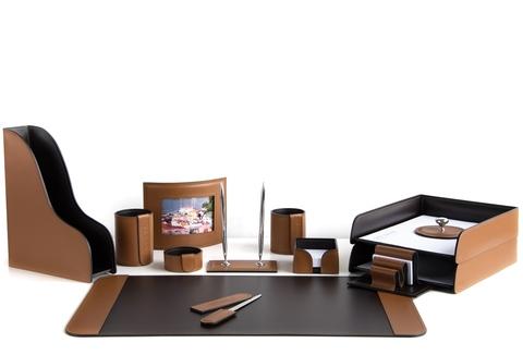 Канцелярский набор на стол 13 предметов, кожа натуральная, цвет табак/шоколад №68