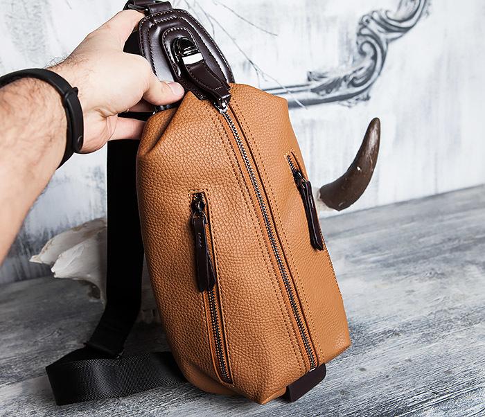 BAG422-2 Мужская сумка из кожи за спину с одной лямкой фото 12