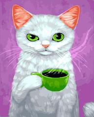 Картина раскраска по номерам 40x50 белая кошечка с кофе