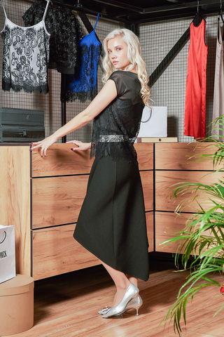 Фото лёгкая чёрная полупрозрачная блуза с кружевом - Блуза Г696-698 (1)