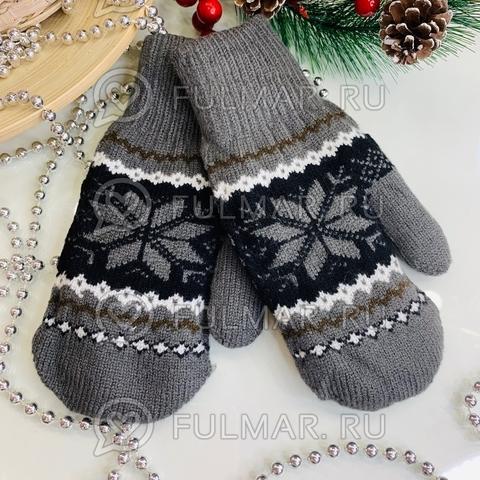 Варежки шерстяные вязаные Большая Снежинка (цвет: тёмно-серый)