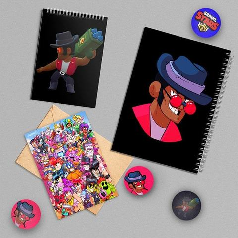 Брок: набор из тетради, блокнота, открытки, 3 значков и стикера