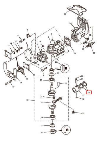 Комплект поршневых колец  для лодочного мотора T2,5 SEA-PRO (2-28)