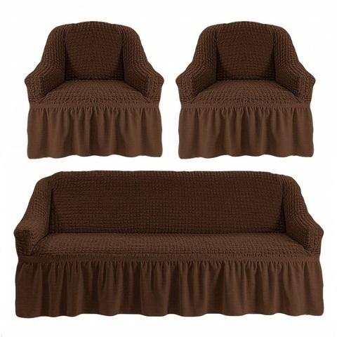 Комплект чехлов для дивана и двух кресел шоколад.
