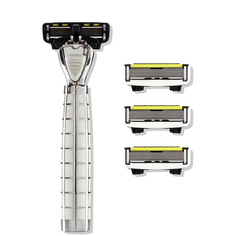 Shave Lab TRES Бритва для мужчин Белый/серебро, комплект 6 лезвий х 4шт.