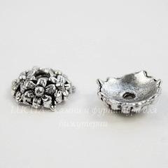 Шапочка для бусины с цветочками  (цвет - античное серебро) 11х3,5 мм, 10 штук