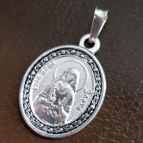 Нательная именная икона святая Злата с серебрением кулон с молитвой