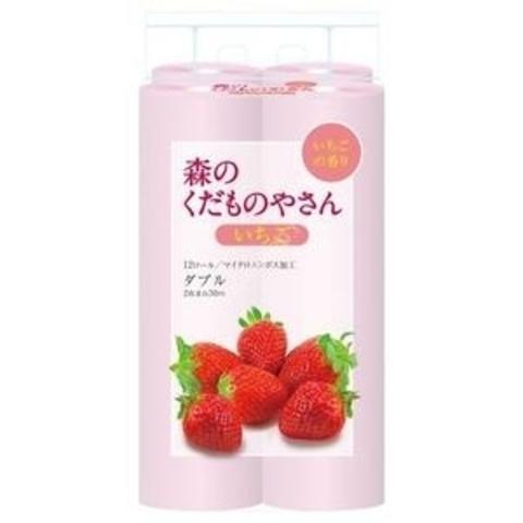 Туалетная бумага двухслойная с ароматом Клубники Fujieda Seishi 12 рулонов