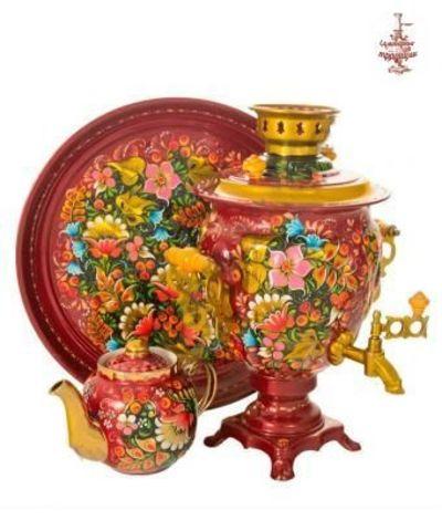 Самовар «Цветы в рябине на бордовом» электрический формой желудь 3л в наборе с подносом и чайником