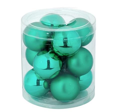 Набор шаров 12шт. в тубе (стекло), D3см, цветовая гамма: зелёная