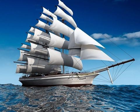 Картина раскраска по номерам 30x40 Корабль с белыми парусами на тихой воде