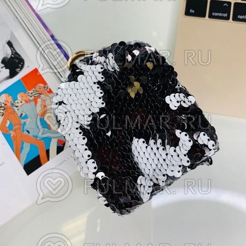 Ключница-брелок в двусторонних пайетках Чёрная-Белая матовая