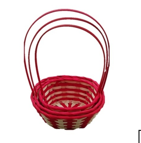 Набор корзин плетеных 3шт., (бамбук), 25,5х10x11xH37, натуральный/красный