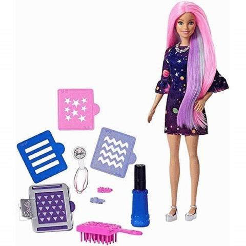 Барби Цветной сюрприз с темно-розовыми волосами
