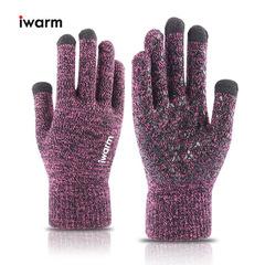 Вязаные мужские перчатки с тачскрином IWARM (Перчатки для сенсорных экранов) розовые
