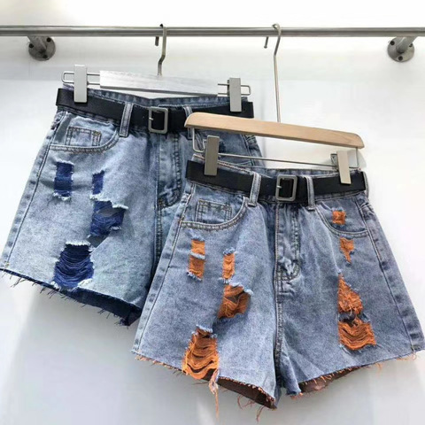 Джинсовые шорты, синий с оранжевым