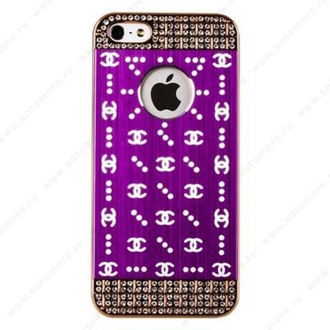 Накладка CHANEL металлическая для iPhone SE/ 5s/ 5C/ 5 золото сиреневая