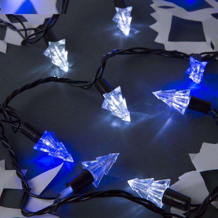 Бело-синие ёлки Гирлянда улично-комнатная с насадками 5 метров, 8 режимов фото