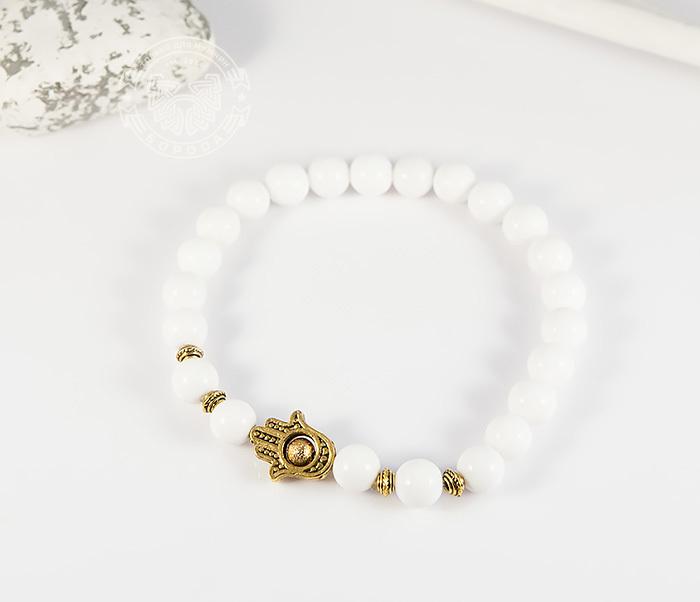Boroda Design, Мужской браслет из белого агата с подвеской «Рука Фатимы». «Boroda Design»