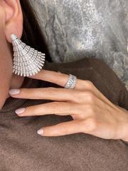 Роскошные, крупные серьги Веер из серебра с микроцирконами