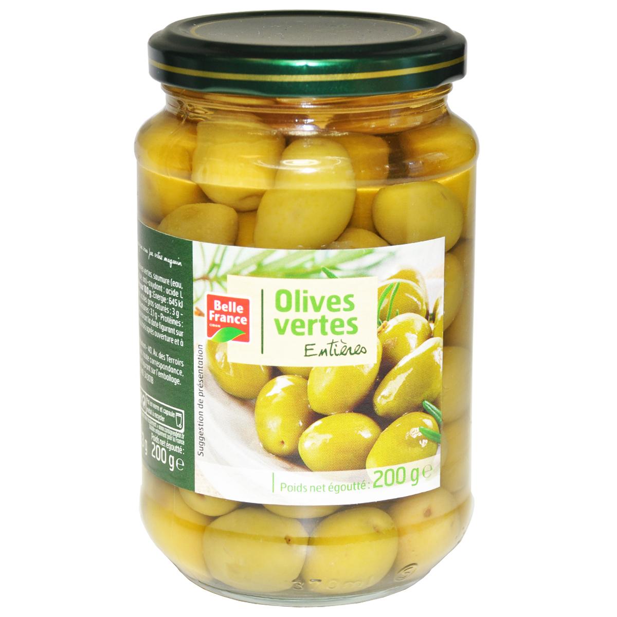 Оливки зеленые натуральные с косточками Bell France 200г