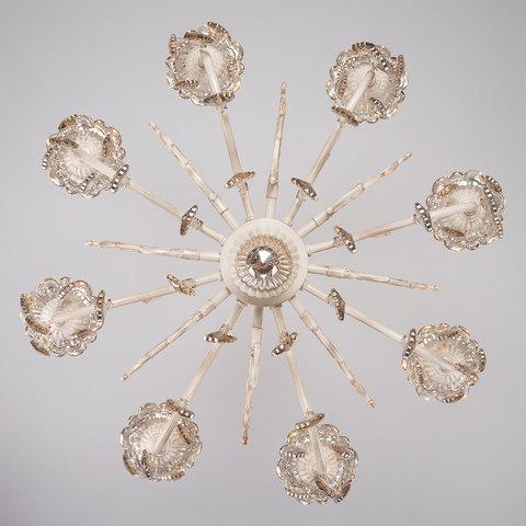 Люстра с тонированным хрусталем 3281/8 белый с золотом / тонированный хрусталь