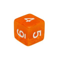 Куб D6 прозрачный: Оранжевый 16мм с цифрами