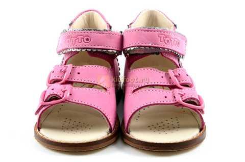 Босоножки Тотто на первый шаг из натуральной кожи открытые для девочек, цвет розовый. Изображение 5 из 10.