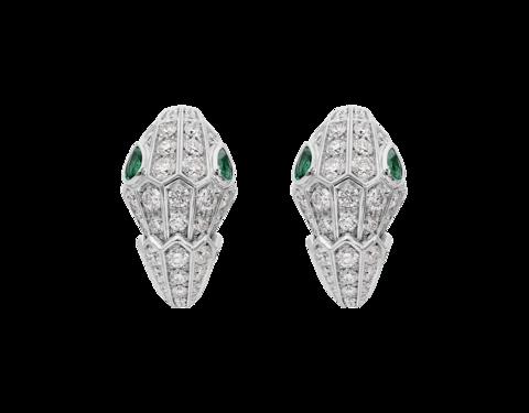 Серьги Змеи-SERPENTI из серебра с цирконами