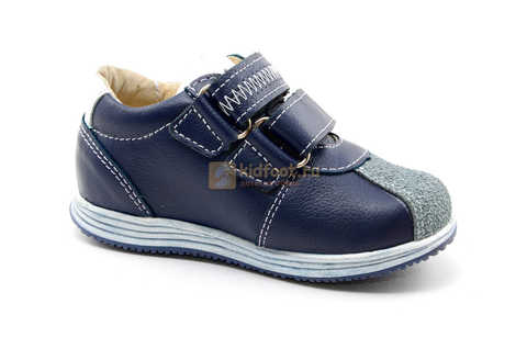 Ботинки для мальчиков Лель (LEL) из натуральной кожи на липучках цвет синий. Изображение 2 из 16.