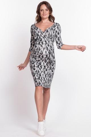 Платье для беременных и кормящих 10502 черно-белый