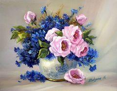 Картина раскраска по номерам 30x40 Розово-синий букет
