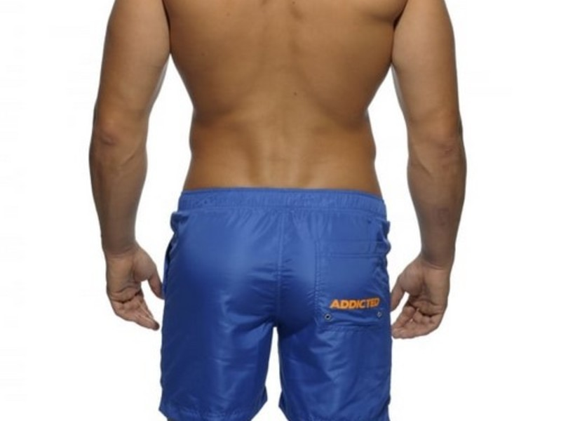Мужские шорты удлиненные голубые с оранжевыми завязками Addicted Sport Shorts Blue