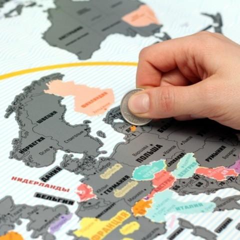 Truemap Plus - большая стиральная скретч карта путешествий